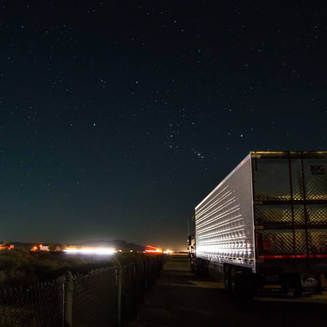 """Night at the roadside rest area in Mojave Desert"" stock image"