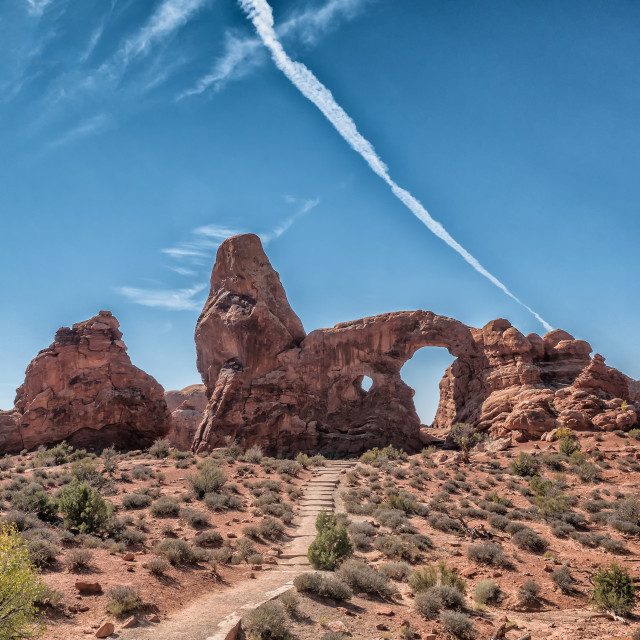 """Turret Arch in Arches National Monument, Utah"" stock image"