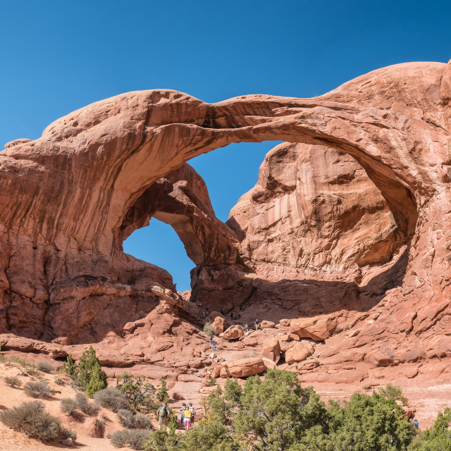 """Double Arch in Arches National Monument, Utah"" stock image"