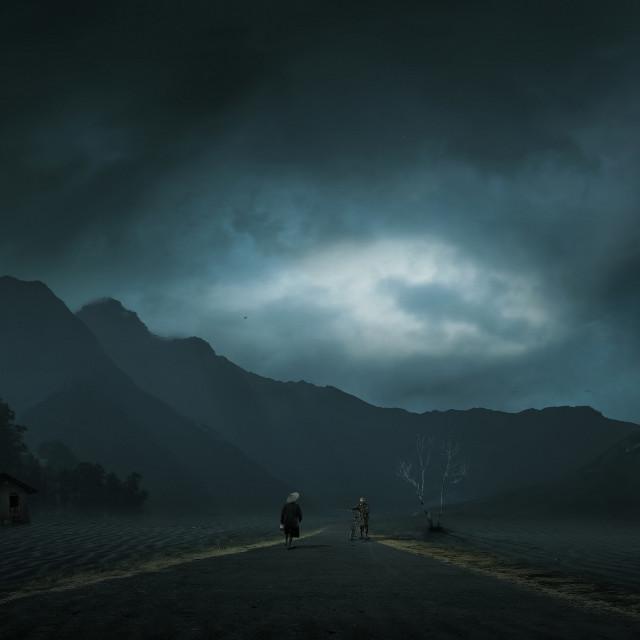 """Night at Village"" stock image"