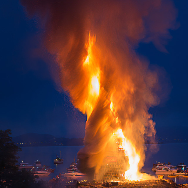 """Bonfire - Midsummer festivity in Alesund"" stock image"