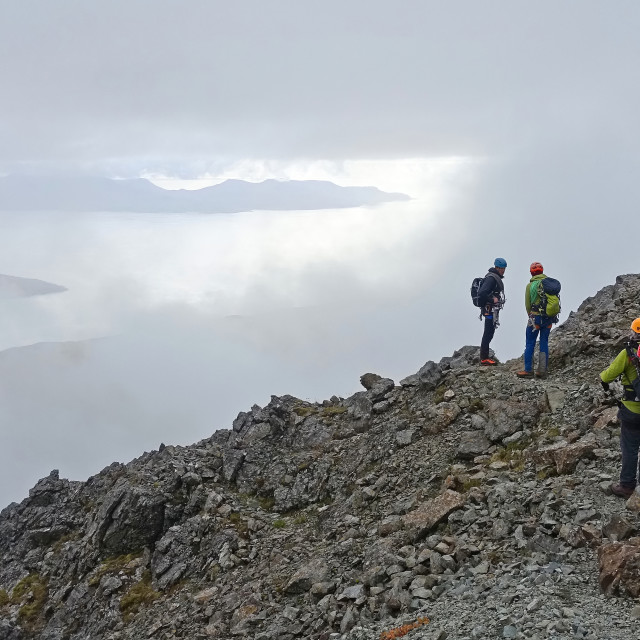 """""""Descent from the mountain, Sgurr Dearg, Isle of Skye"""" stock image"""