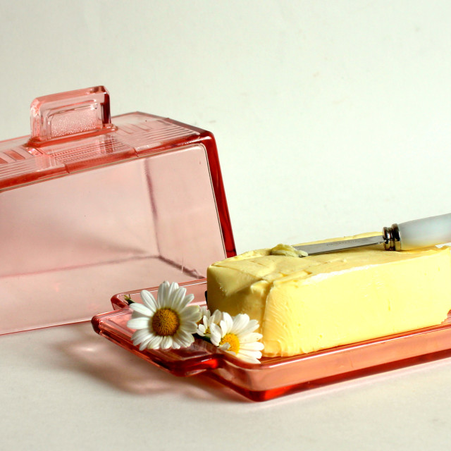 """1930's art deco butter dish"" stock image"