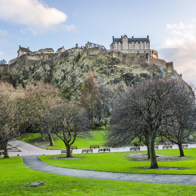 """Edinburgh Castle seen from Princes Street Gardens, Scotland"" stock image"