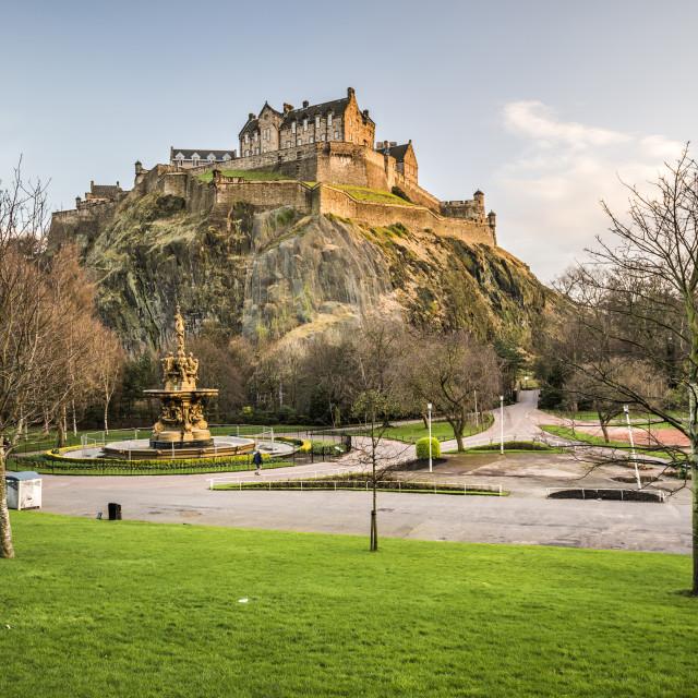"""Edinburgh Castle seen from Princes Street Gardens at sunset, Scotland"" stock image"