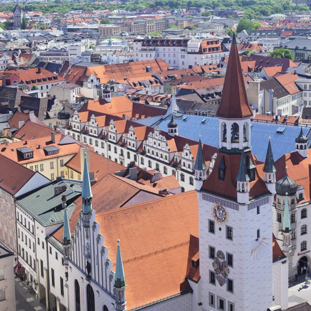 """Old town hall (Altes Rathaus) at Marienplatz Square, Munich, Bavaria, Germany"" stock image"