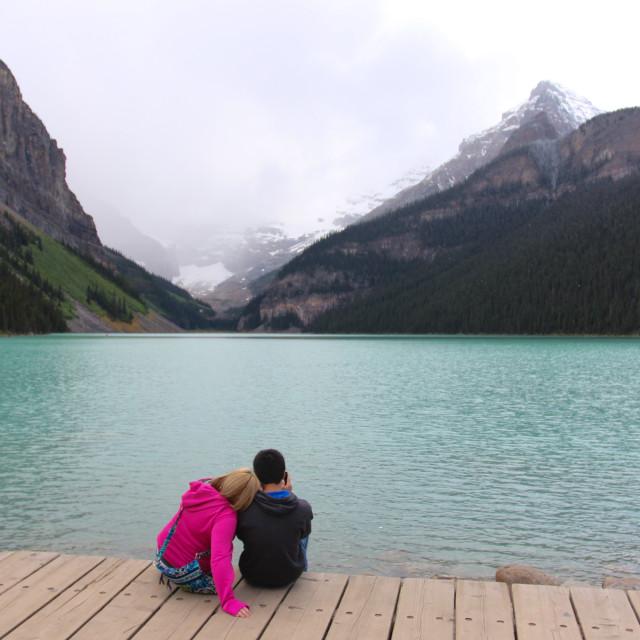 """""""Romance at Lake Luis"""" stock image"""
