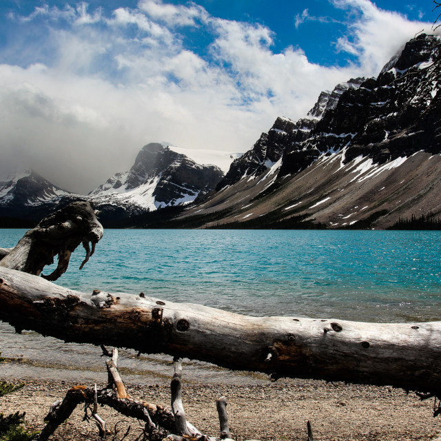 """Clouds of Bow Lake"" stock image"