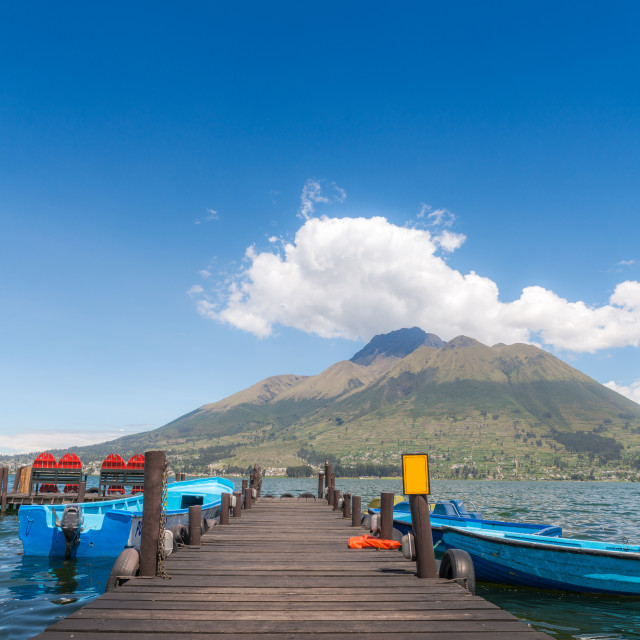 """Pier overlooking a lake in Otavalo, Ecuador"" stock image"