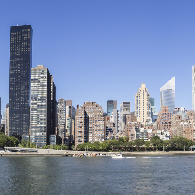 """""""Panoramic Skyline of Manhattan including UN, Empire State and Matchstick..."""" stock image"""
