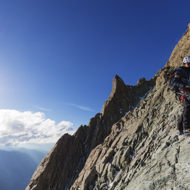 """Western Europe, Switzerland, Swiss Alps, Valais, climber on south ridge of..."" stock image"