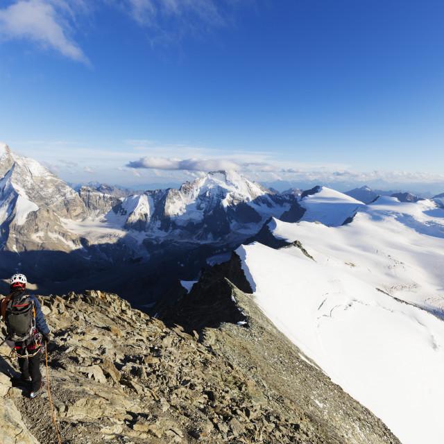 """Western Europe, Switzerland, Swiss Alps, Valais, climber on south ridge of..."" stock image"