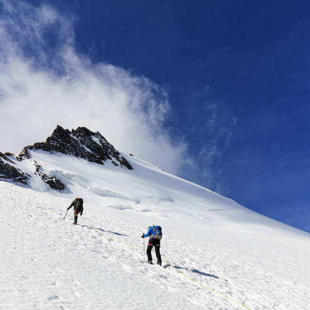 """Western Europe, Switzerland, Swiss Alps, Valais, Zermatt, climbers on the Dom..."" stock image"