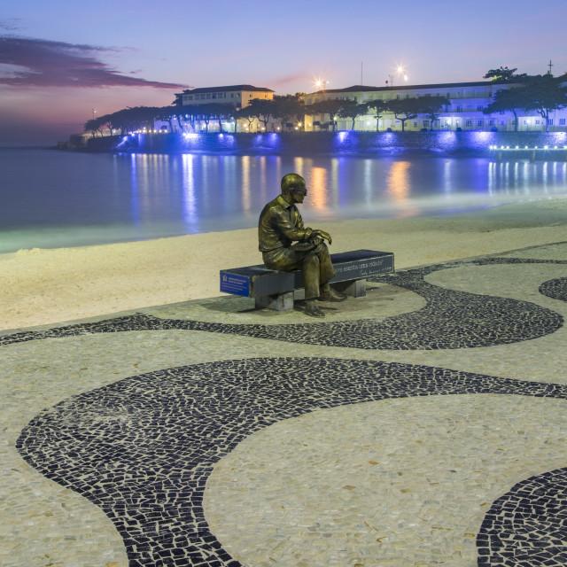"""Brazilian poet Carlos Drummond de Andrade statue at Copacabana beach..."" stock image"