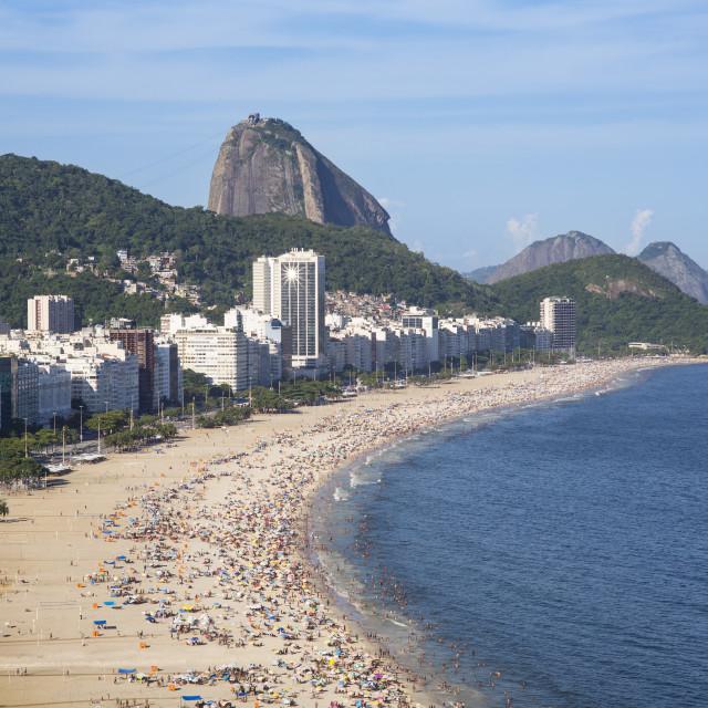"""""""Copacabana beach and Sugar loaf, Rio de Janeiro, Brazil, South America"""" stock image"""