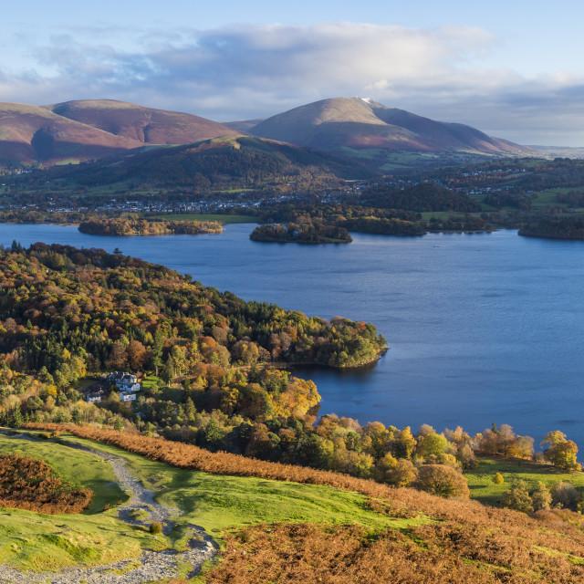 """United Kingdom, England, Cumbria, Lake District National Park, Derwent water..."" stock image"