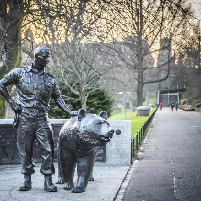 """Wojtek Soldier Bear Statue, Edinburgh, Scotland"" stock image"