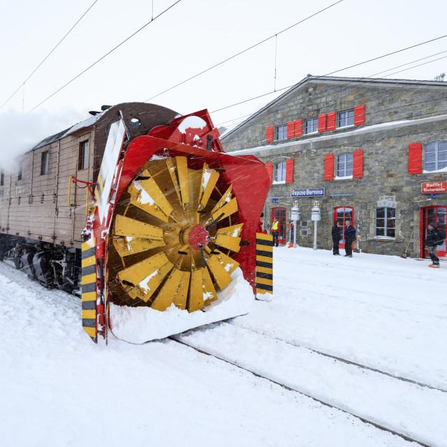 """Turbine of snowplow of Bernina Express train, station of Ospizio Bernina,..."" stock image"