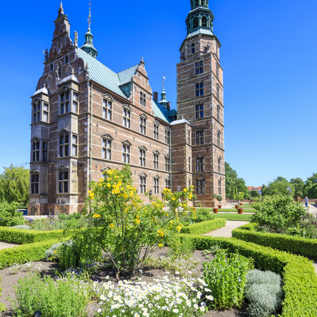 """Gardens and Rosenborg Castle built in the Dutch Renaissance style ,..."" stock image"