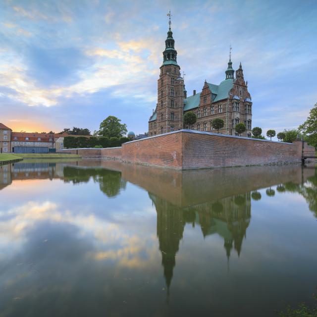 """""""Rosenborg Castle reflected in the canal, Kongens Have, Copenhagen, Denmark"""" stock image"""