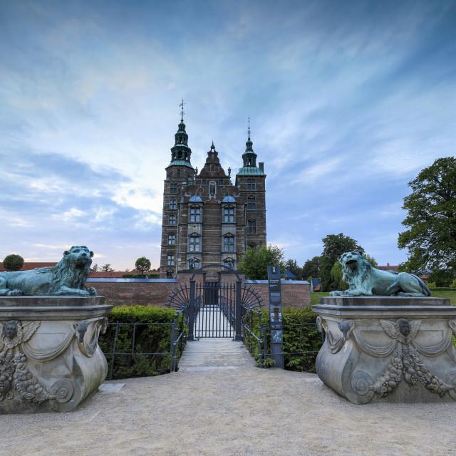 """""""Sculptures of lions in front of Rosenborg Castle, Kongens Have, Copenhagen..."""" stock image"""