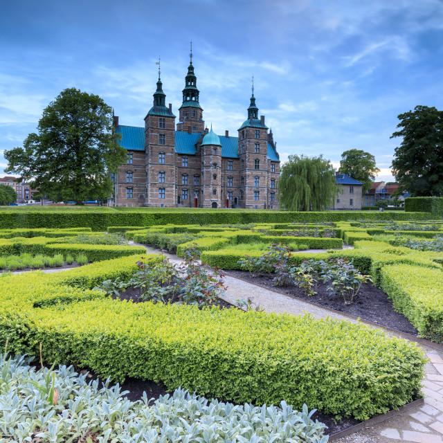 """""""Rosenborg Castle seen from the gardens of Kongens Have, Copenhagen, Denmark"""" stock image"""