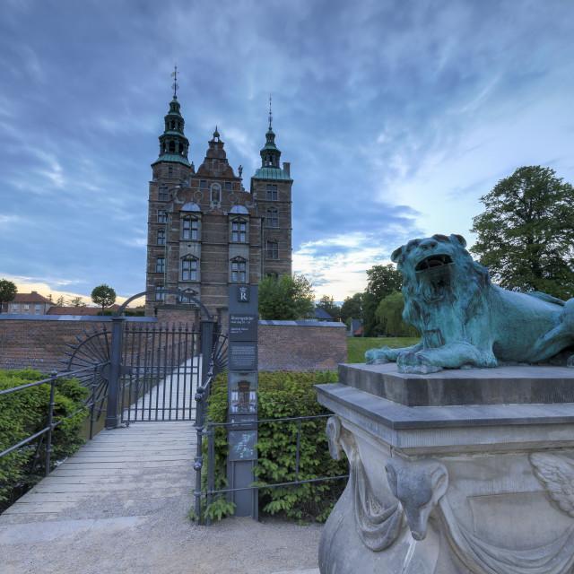 """""""Sculpture of lion in front of Rosenborg Castle, Kongens Have, Copenhagen Denmark"""" stock image"""