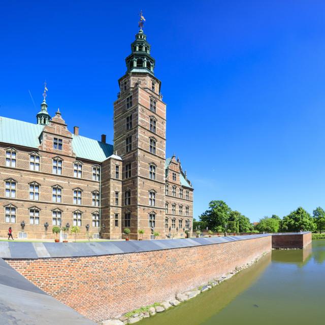 """Panoramic of Rosenborg Castle built in the Dutch Renaissance style,..."" stock image"