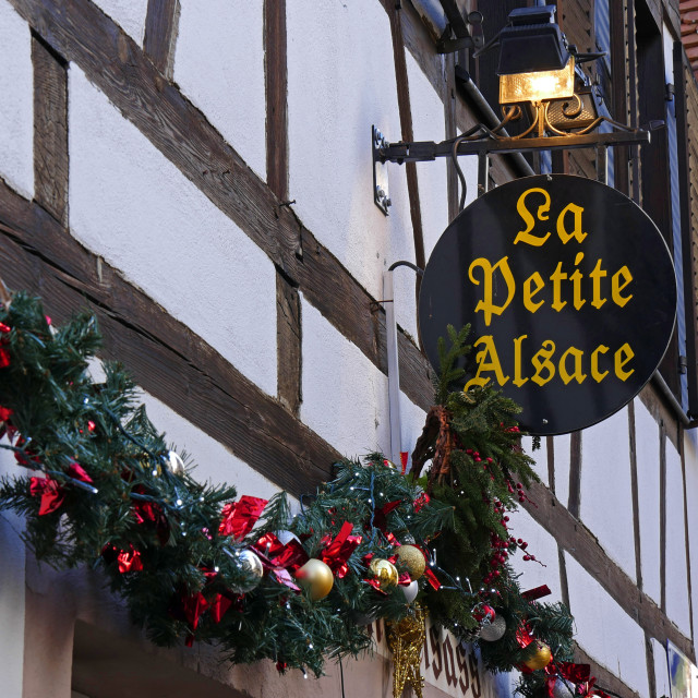 """Christmas decoration in the old town Petite France, Strasbourg, Alsace, France"" stock image"