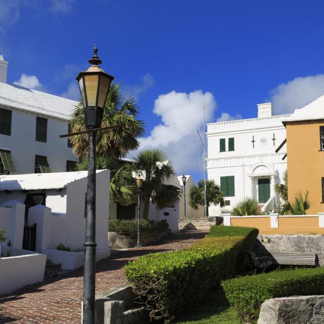 """King Street, Town of St. George, St. George's Parish, Bermuda"" stock image"