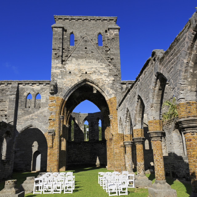 """""""Unfinished Church, Town of St. George, St. George's Parish, Bermuda"""" stock image"""