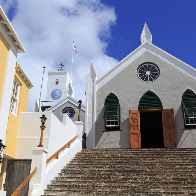 """St. Peter's Church, Town of St. George, St. George's Parish, Bermuda"" stock image"