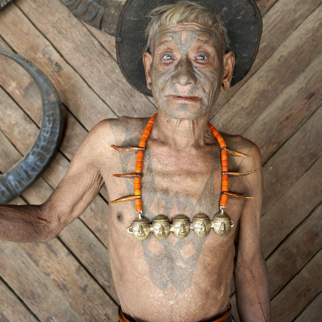 """Wangchah Wangsa, Naga headhunter, with tattooed face and tribal necklace, and..."" stock image"