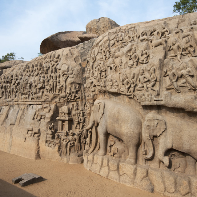 """Beautiful 7th century bas relief carved Arjuna's Penance rock,..."" stock image"