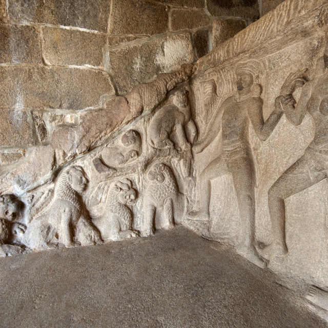 """Part of the beautiful 7th century bas relief sculpture in the Krishna cave..."" stock image"