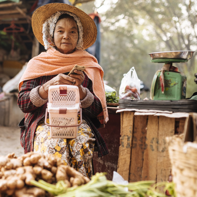 """""""Hsipaw Morning Market, Hsipaw, Shan State, Myanmar, Asia"""" stock image"""