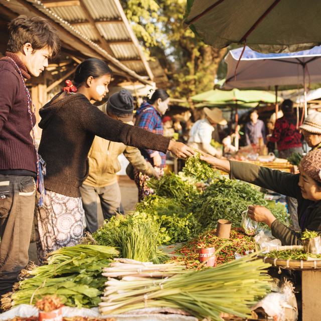 """Hsipaw Morning Market, Hsipaw, Shan State, Myanmar, Asia"" stock image"