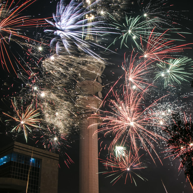 """Baghdad Tower Fireworks-3"" stock image"
