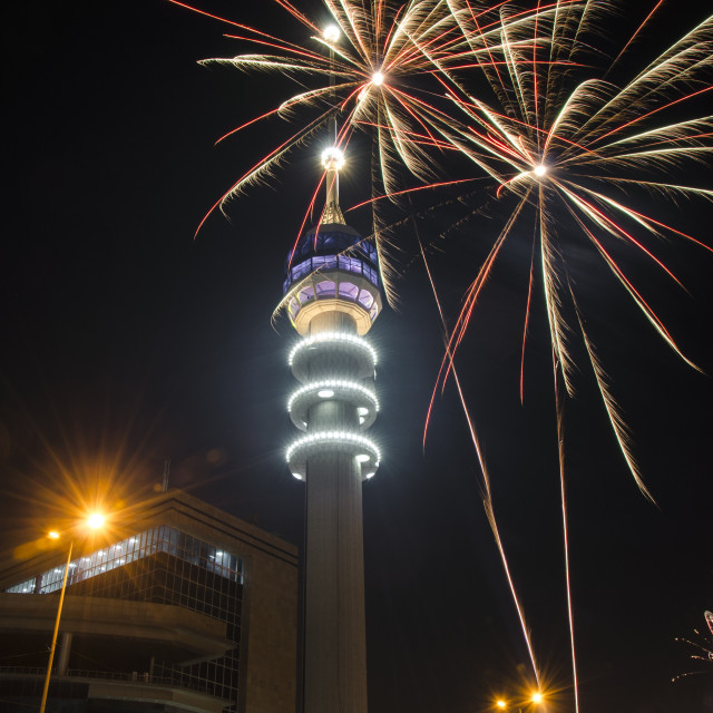 """Baghdad Tower Fireworks-1"" stock image"