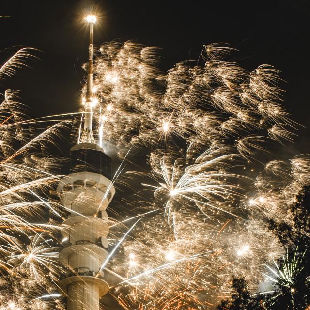 """Baghdad Tower Fireworks-2"" stock image"