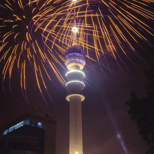 """Baghdad Tower Fireworks-7"" stock image"