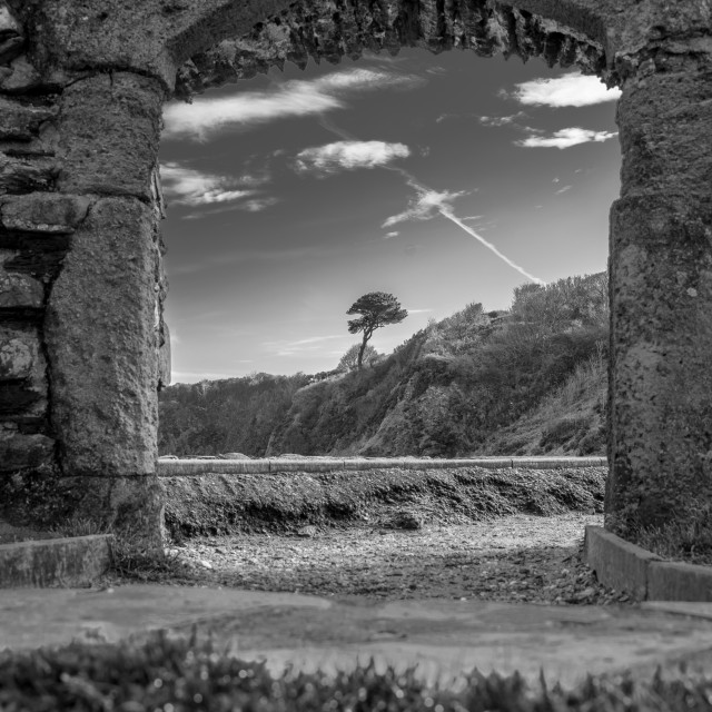"""""""A shot taken through the Ruins of the Church of St. Brynach the Abbot at Cwm-yr-Eglwys"""" stock image"""
