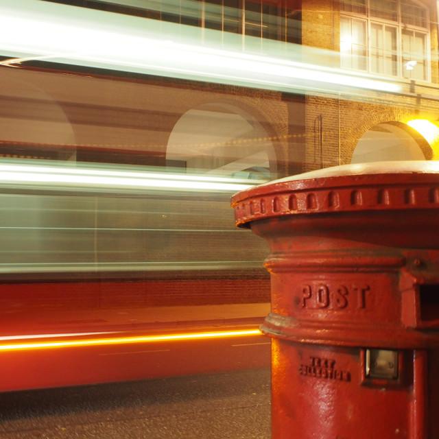 """London bus blur"" stock image"