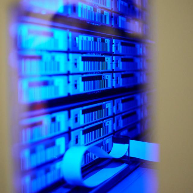 """big data center highspeed server storage tape library"" stock image"