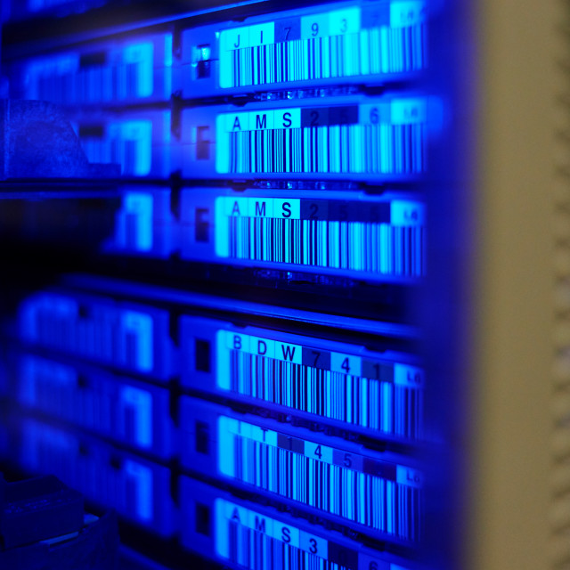 """big data center highspeed server storage tape library"" stock image"