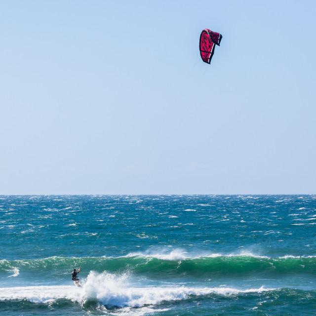 """""""Kite Surfer Ocean Waves"""" stock image"""