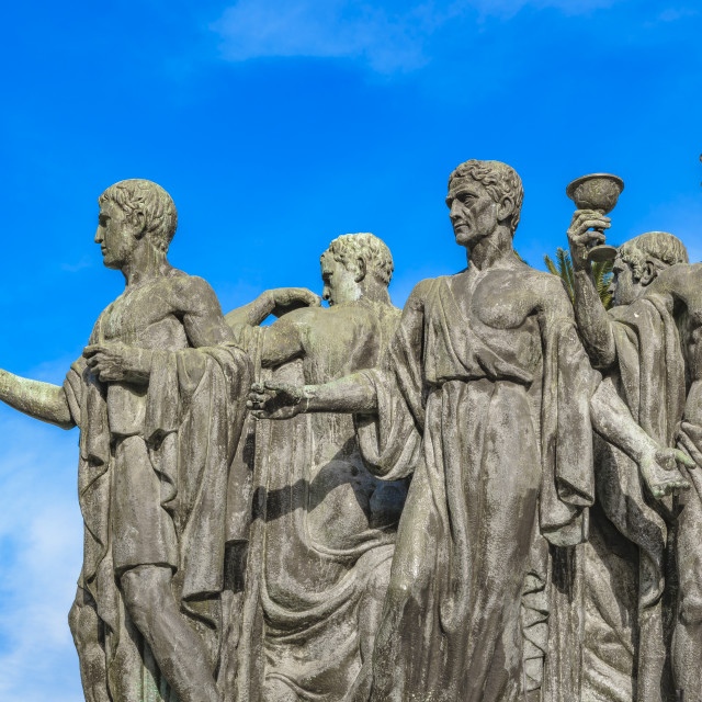 """""""Group of Men with Togas Sculpture"""" stock image"""