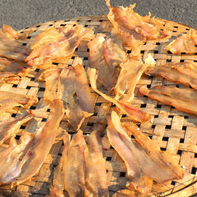 """""""Dried fish on the bamboo grid"""" stock image"""