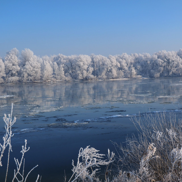 """""""snow on the frozen river"""" stock image"""