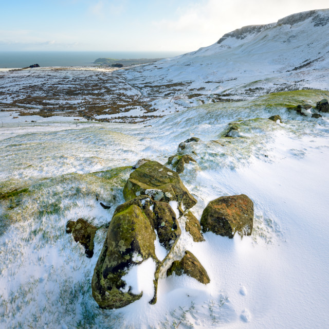 """""""Ballygalley Bay Winter View"""" stock image"""